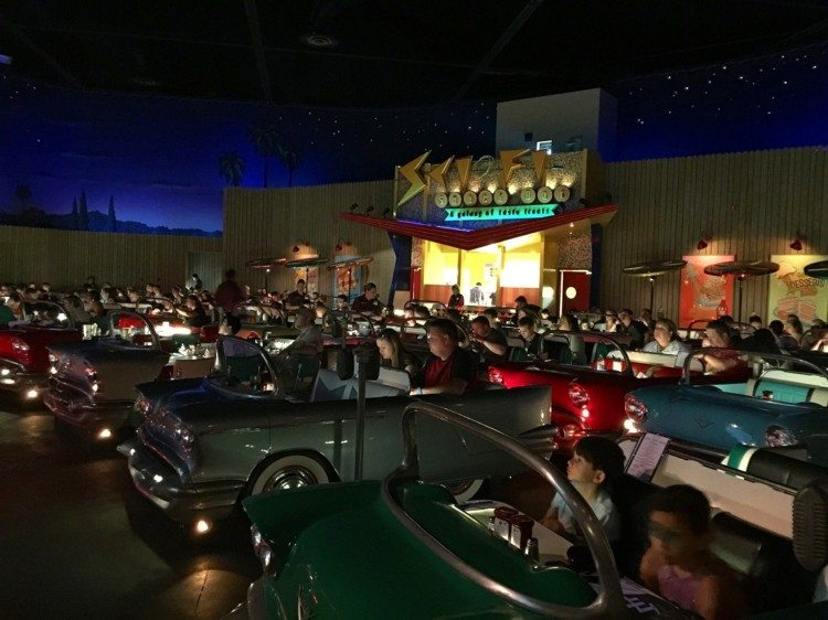 Enjoy your meal in the unique car shaped booths while enjoying classic movie clips at Sci-Fi Dine-In Theater at Hollywood Studios.