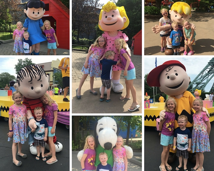 Children gather with Peanuts characters; Kings Island tips include taking advantage of live entertainment.