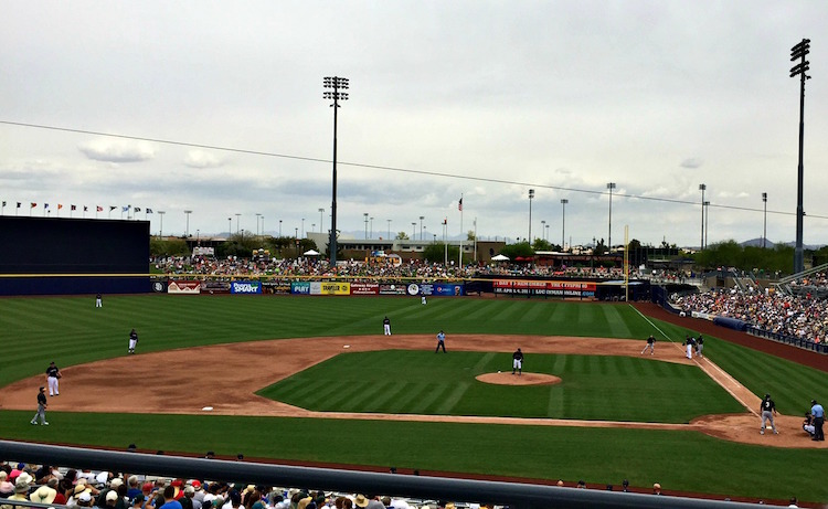 Take me out to the ball game! Spring training in Peoria is the most family friendly stadium in the Cactus League.