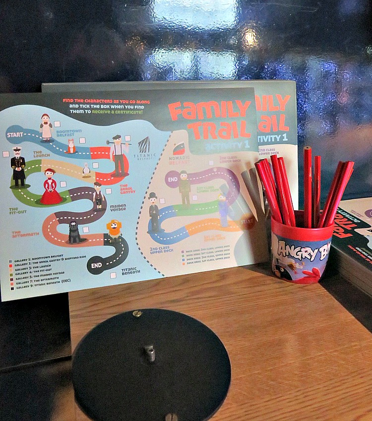 The Titanic Belfast Family Trail Handout can be found at the entrance to the Exhibit Hall and is a fun and educational scavenger hunt for kids.