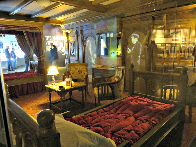 A recreation of a First Class Cabin on the Titanic at titanic Belfast Museum. It is small but its luxury stood in stark contrast to the second and third class cabins.