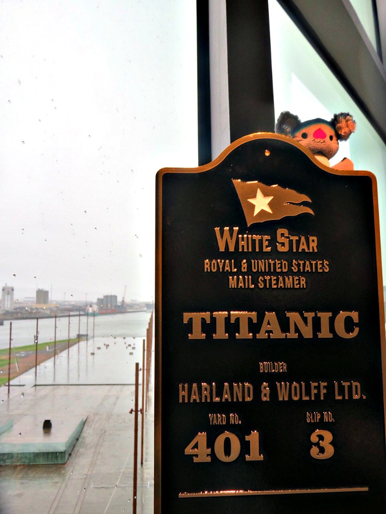 My daughter's preschool mascot visiting the Titanic's dry dock.