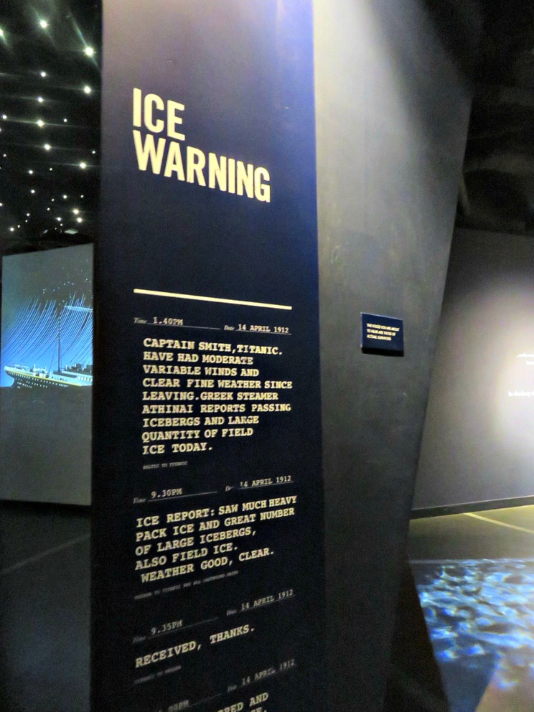 The museum is filled with wall panels like these with information and photographs. This haunting one shows a telegraph of the ice warning to Titanic.