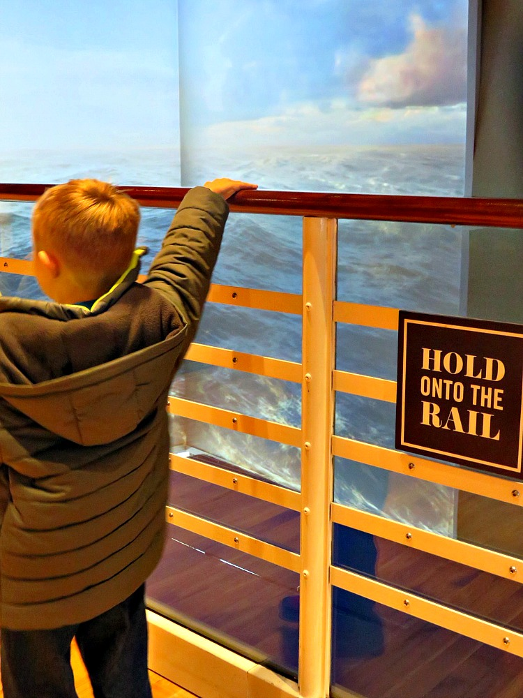 The vibrating handrails are just one of the many interactive exhibits at Titanic Belfast.