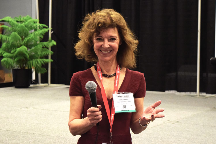 Anne Dimon at the NY Times Travel Show talking about the benefits of weekend wellness retreats as the start of a lifestyle reset.