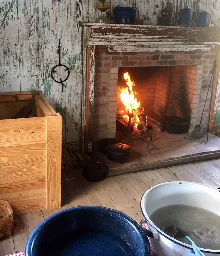 Iron skillet cooking classes call for lighting the fire first and drawing water from the well.