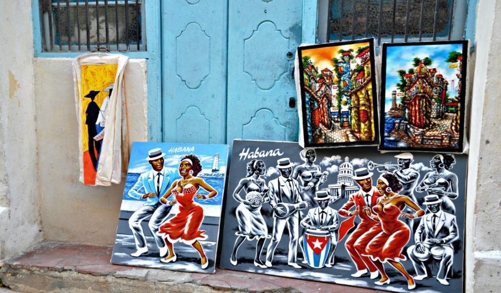 Beautiful local art on the streets in Cuba
