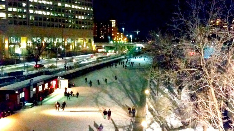 Ice skating on the Rideau Canal in Ottawa.