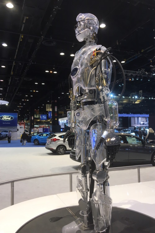 say hello to Ford's talking robot at the Chicago Auto Show.