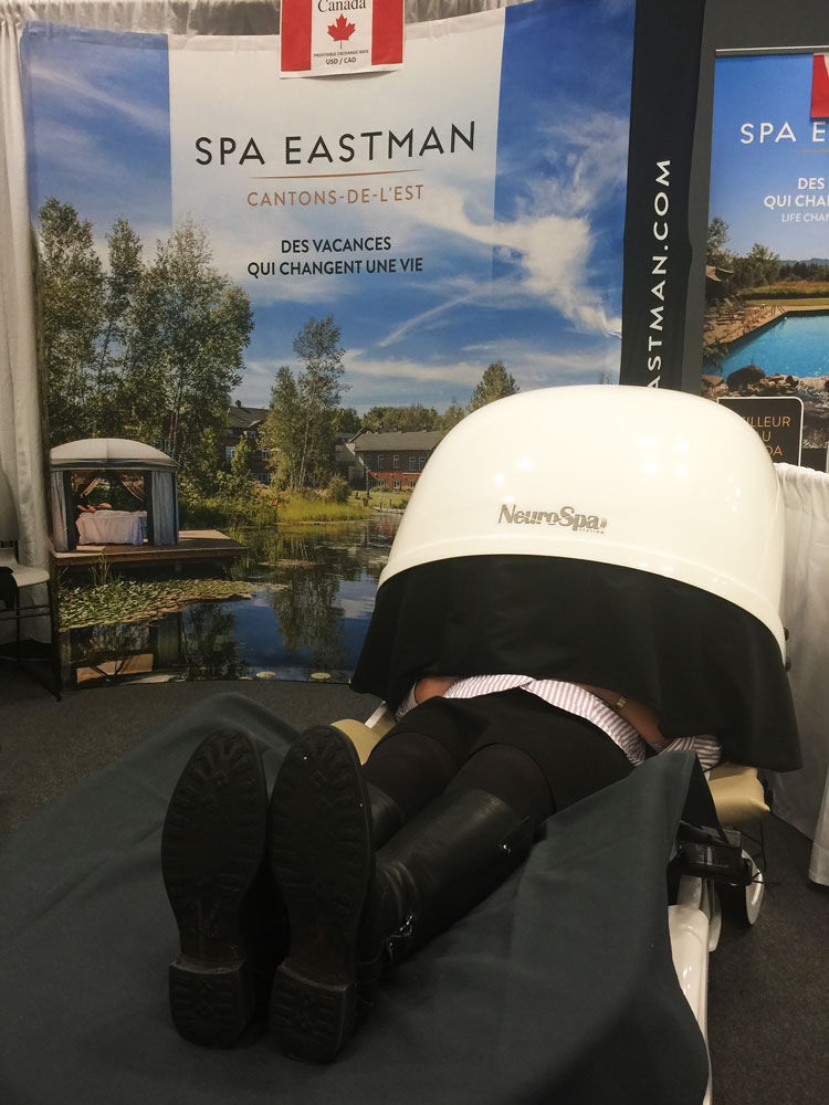 NeuroSpa display at the NY Times Travel Show in the Wellness Pavilion offering weekend wellness retreats