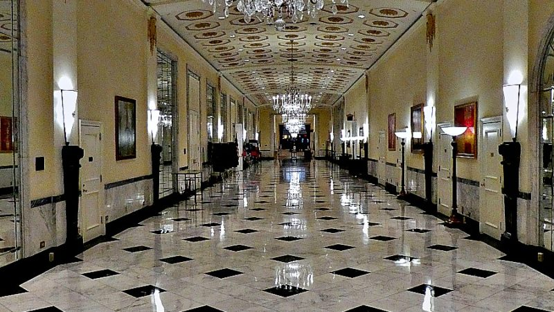 The grand ballroom of The Mayflower Hotel in a rare quiet moment.