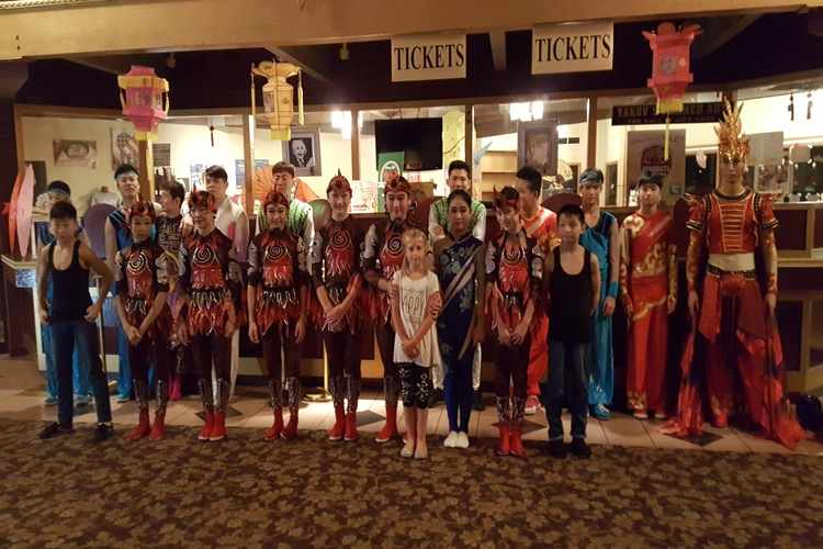 Take a cast photo with the Acrobats of China, one of many fun things to do with kids in Branson