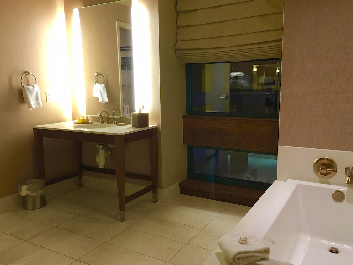 The bathroom at the Chickasaw Retreat and Conference Center offers luxurious touches.