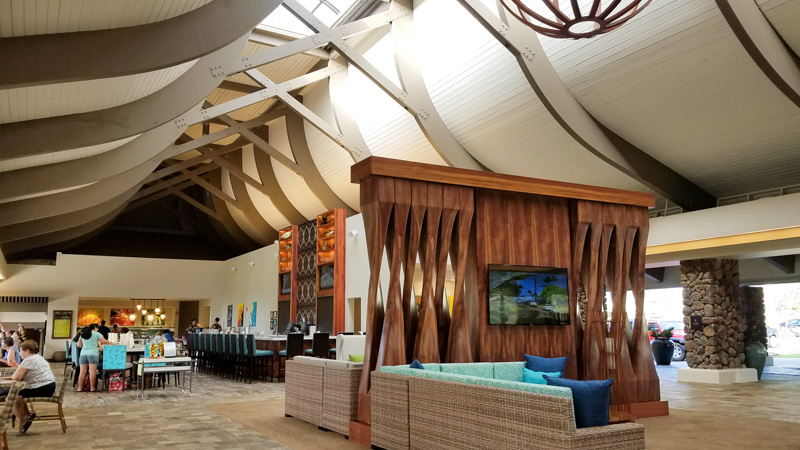 Open air lobby inside the Hilton Garden Inn Kauai | photo credit: Kimberly Tate / Active TravelingMom