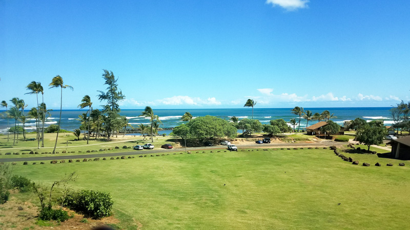 Oceanview room looking out at Lydgate Beach from the Hilton Garden Inn Kauai | photo credit: Kimberly Tate / Active TravelingMom