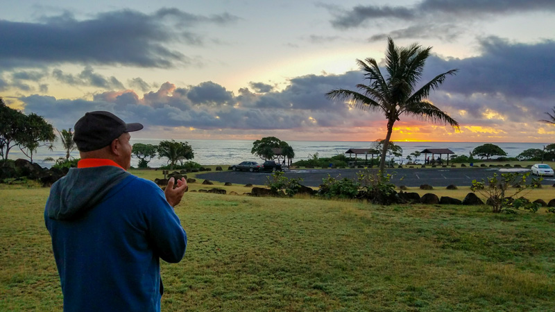 The Hawaiian Cultural Sunrise Ceremony is a lovely way to welcome the new day - it's included with the daily resort fee | photo credit: Kimberly Tate / Active TravelingMom