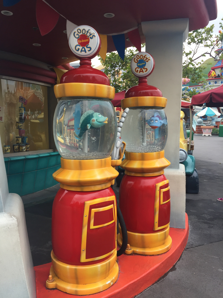 Fish swimming in cartoon-like gas pumps are some of the fun details in Toontown, a great reason to visit Disneyland and Disney's California Adventure