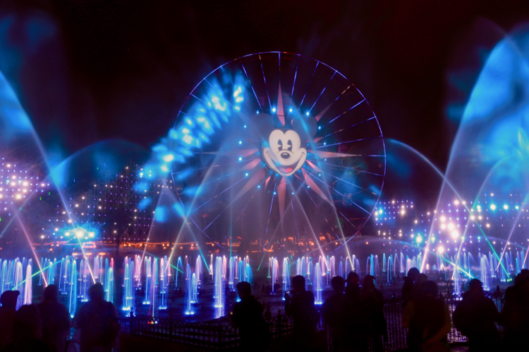 A visit to Disneyland includes California Adventure's World of Color nighttime show