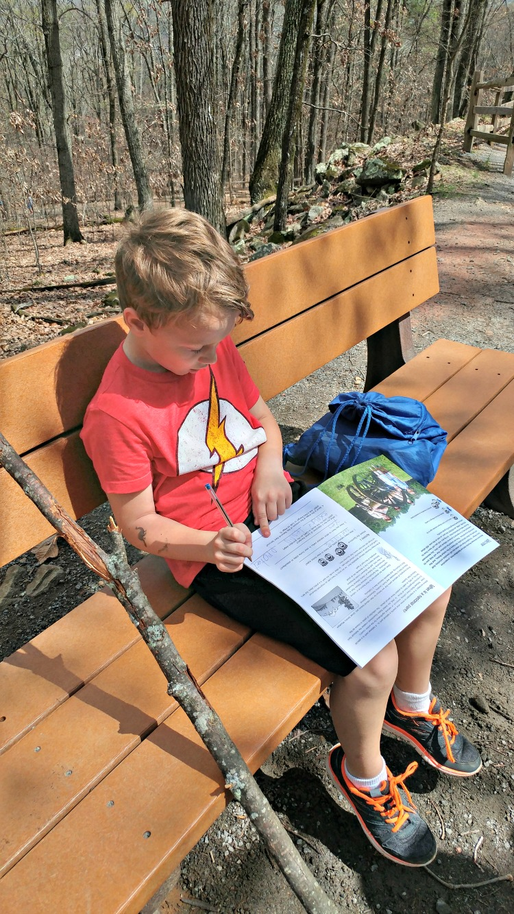 Becoming a Junior Ranger is my son's favorite park of the visiting the National Park Service sites! He's working on his book at Kennesaw Mountain National Battlefield Park.