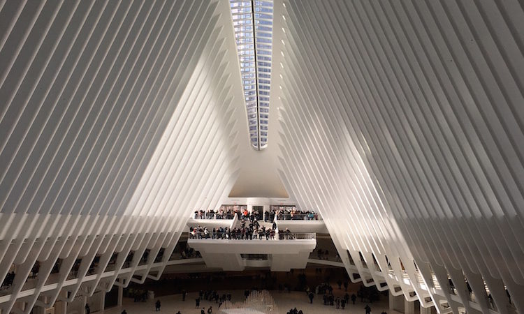 Breathtaking light and architecture as well as shopping and food are found in the World Trade Center Oculus.