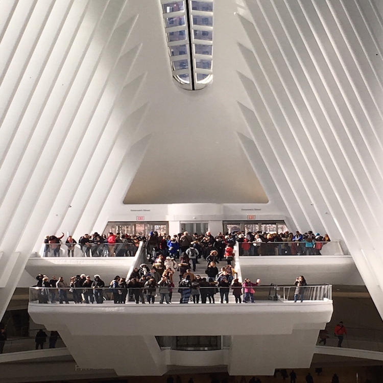 A stunning view to take in by tourists and travelers visiting the World Trade Center Oculus.