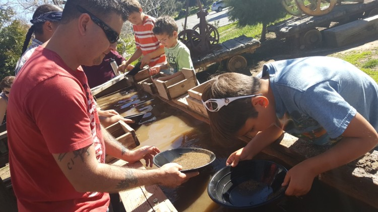 Junior gold miners panning for gold, one of many adventures in Julian California