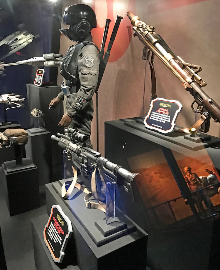 Rogue One artifacts in Star Wars Launch Bay at Disneyland