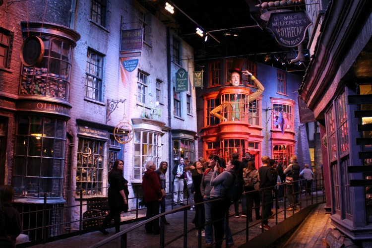 Diagon Alley is one of the most whimsical places on the Harry Potter Studios Tour in London
