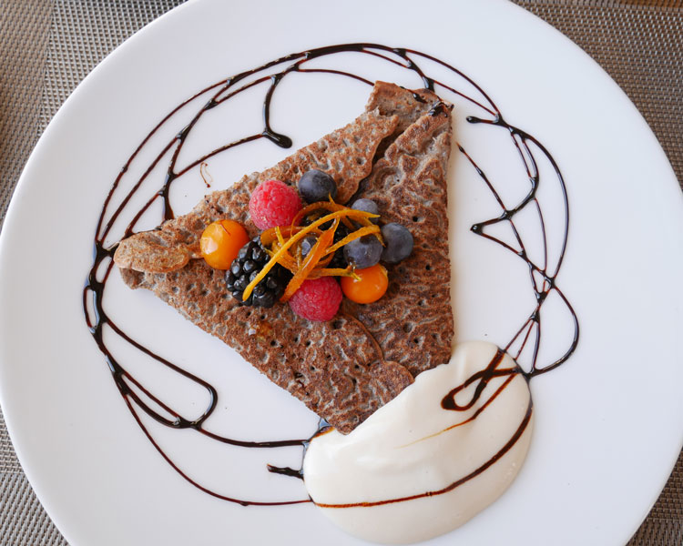 buckwheat crepe at Spa Eastman gluten-free