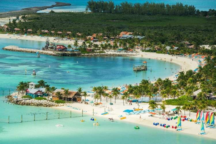 Disney's private island Castaway Cay in the Bahamas. Disney Wonder cruise line stop.