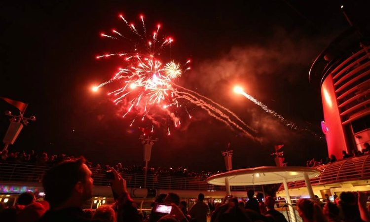 The only fireworks at sea show aboard the Disney Wonder cruise ship.