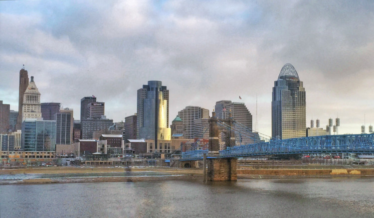 The Cincinnati skyline and Riverfront, home of many free Cincinnati activities year-round.