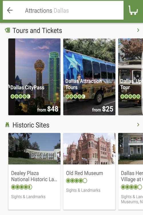 Searching free travel apps for ways to enjoy Dallas, like TripAdvisor