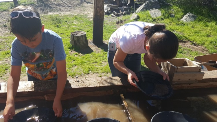 Panning for gold at the Julian Mining Company in Julian California