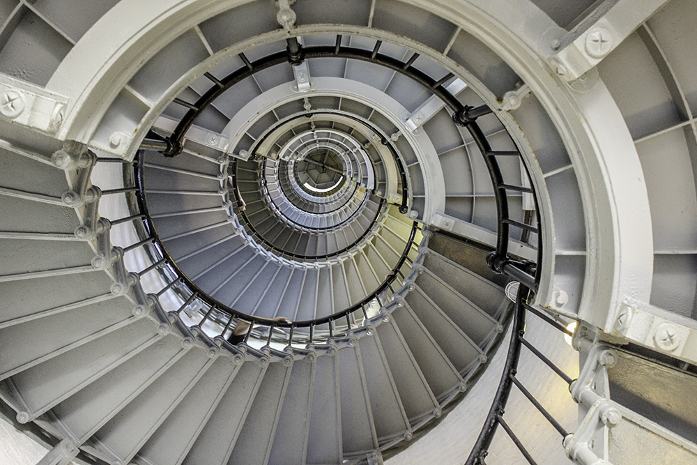 A view of the Ponce Inlet lighthouse stairs from the bottom, 1 of 7 7 Best Family Friendly Things to do in Daytona Beach.