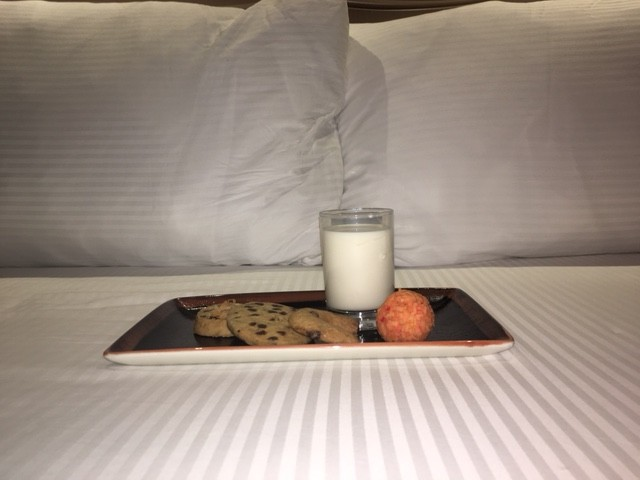melia braco village serves cookies and milk, all-inclusive treat
