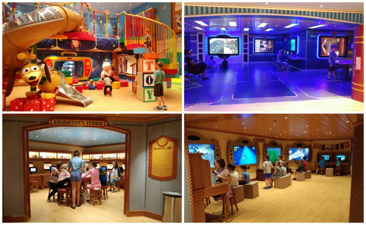 The Oceaneer's Club and the Oceaneer's Lab, two childcare options aboard the Disney Wonder cruise ship.