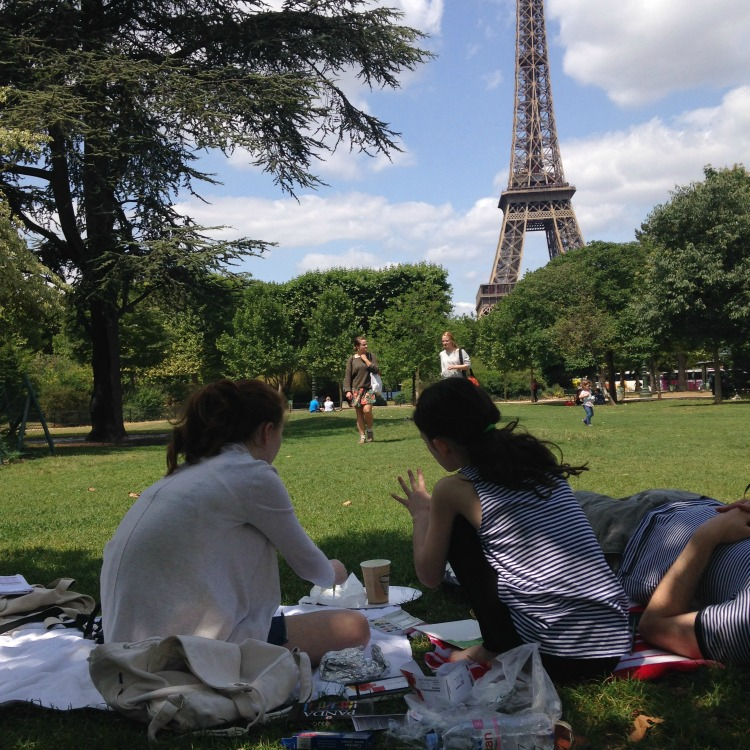 One of the great things to do with kids in Paris is to picnic in front of the Eiffel Tower.