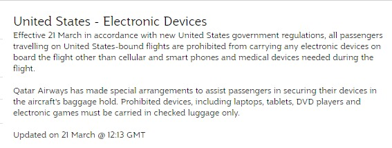 The electronics ban info has only been updated on one airline's website.