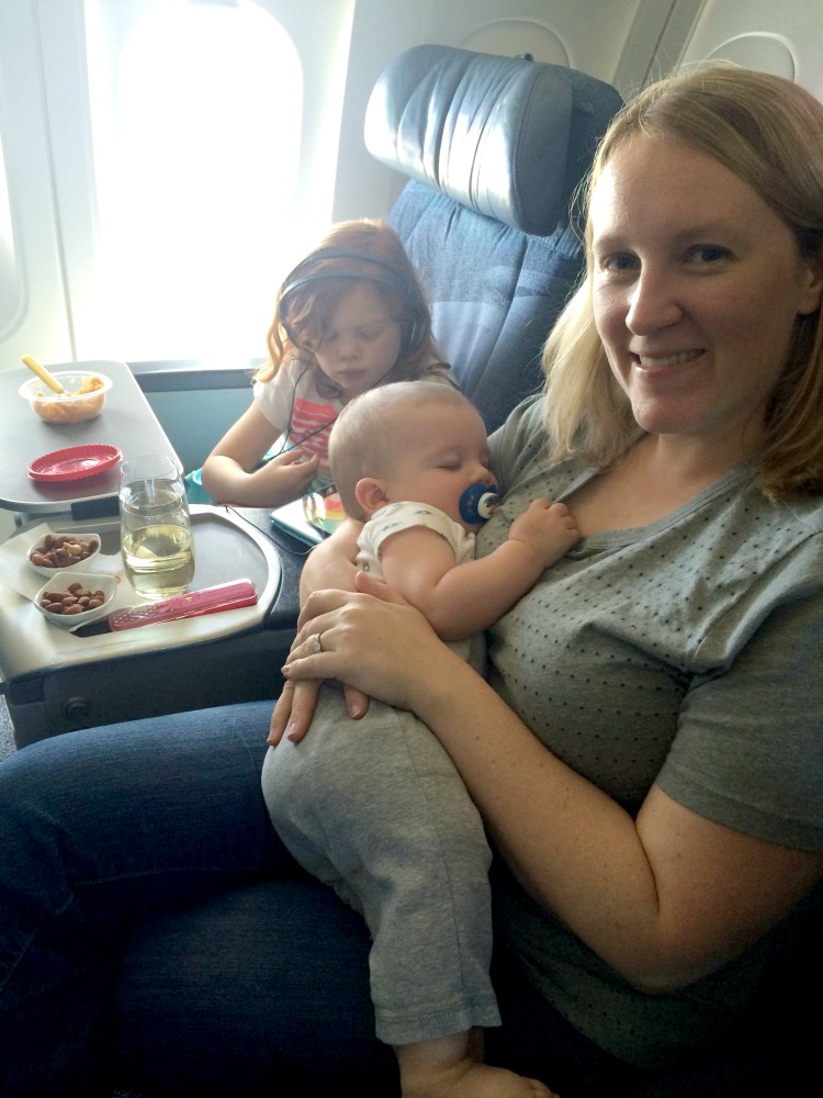 A full tummy helps to make traveling alone with baby just a little smoother!