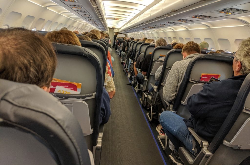 Inside an Allegiant Airlines airplane.