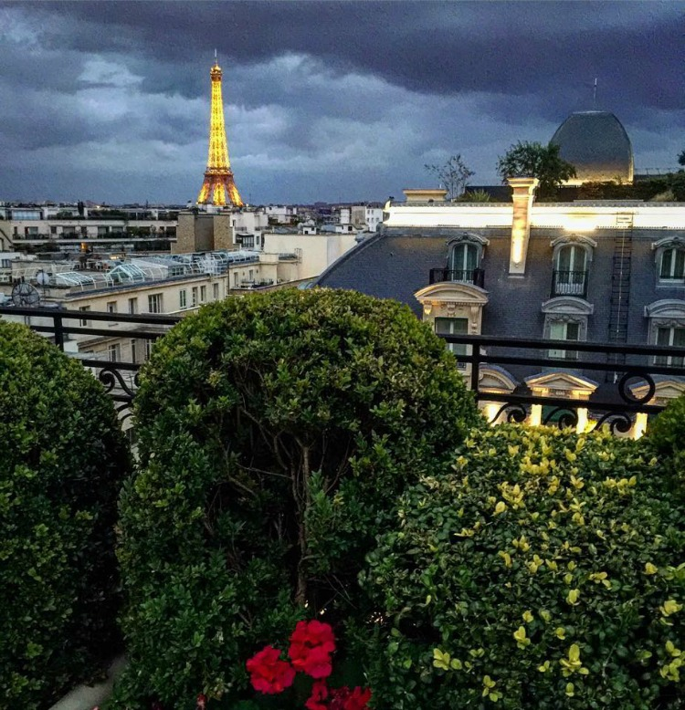 The sunset view from the terrace of the Hotel Raphael in Paris!