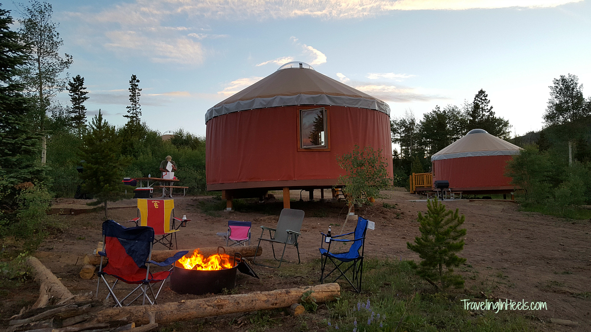 Relax! The firepit is ready for you. Colorado camping, courtesy of YMCA Snow Mountain Ranch Yurts.