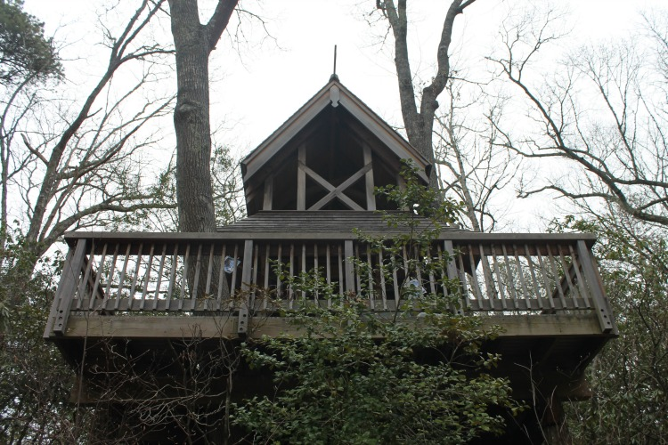 Wooden tree house for kids to play in at Heritage Museums and Gardens, a Cape Cod attraction.