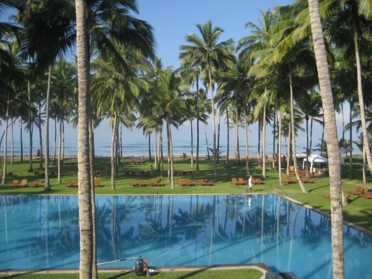 Enjoy this poolside view in Wadduwa on your visit to Sri Lanka