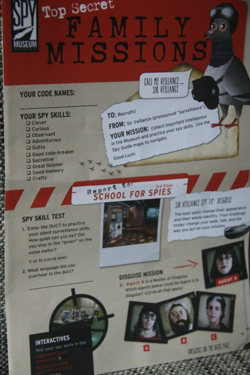 A flyer allows parents and kids to hunt for clues together at the International Spy Museum during a family trip to Washington DC.