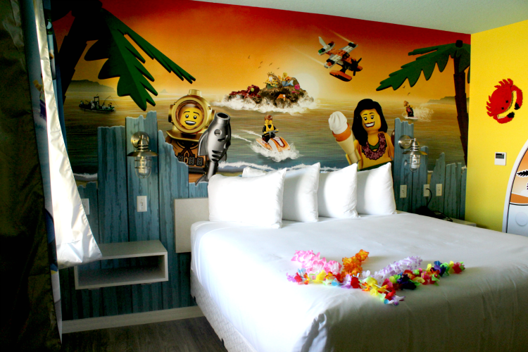 The walls of the bungalows at LEGOLAND Beach Retreat are covered with colorful murals