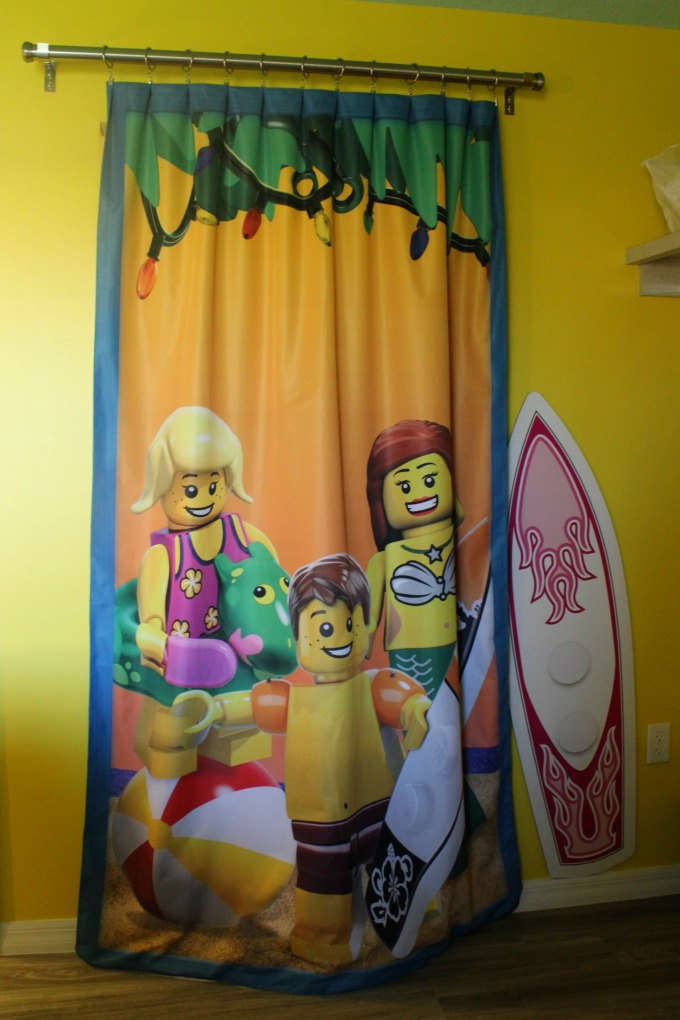 A curtain separates the kid's rooms inside the LEGOLAND Beach Retreat bungalows