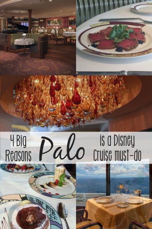 There are four big reasons you should try Palo when taking a Disney cruise. The adults-only restaurant offers unparalleled value, menu options, service, and dining atmosphere. A dinner or brunch reservation is a must-do for us on every sailing.