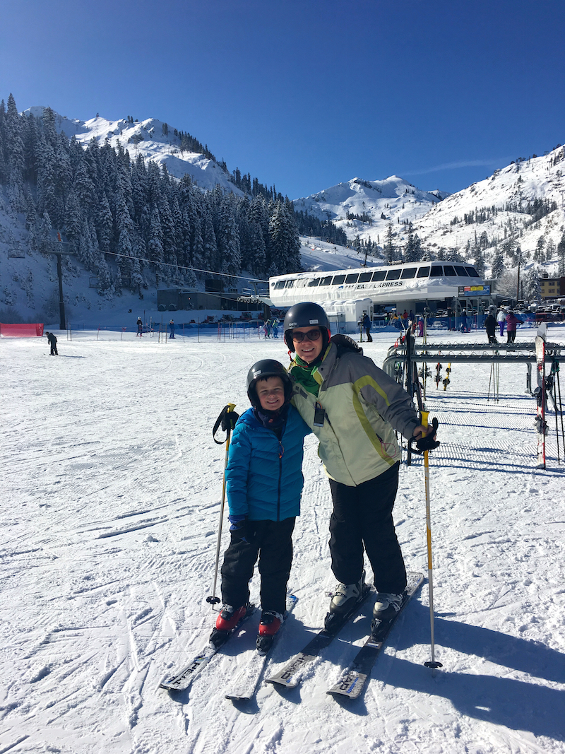 Enjoy mountaintop spring skiing at Lake Tahoe with kids.